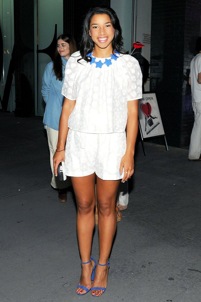 Hannah Bronfman set off her white designs with bright blue accents at the DVF Tales of Endearment bash.