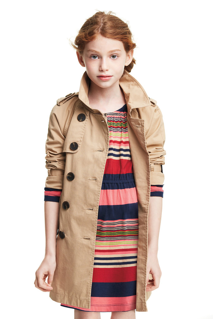 She's back-to-school-ready in a striped keyhole dress ($16) and trench coat ($39).