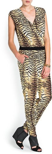 Animal Print Wrap Jumpsuit