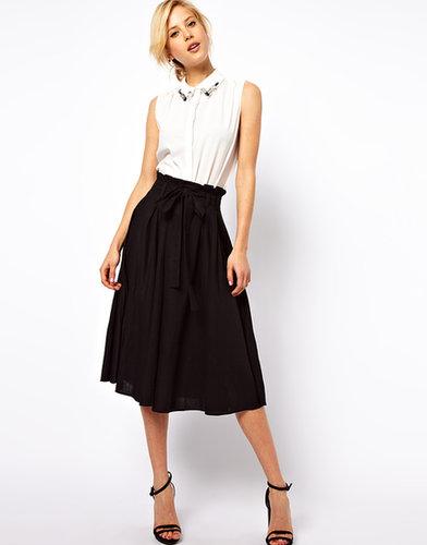 ASOS Linen Midi Skirt with Belt
