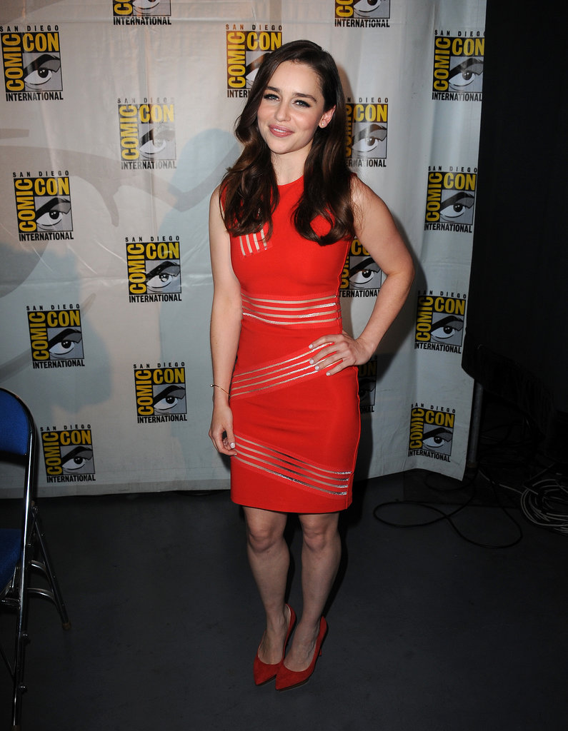 Game of Thrones star Emilia Clarke wore a sexy red frock for the show's panel.