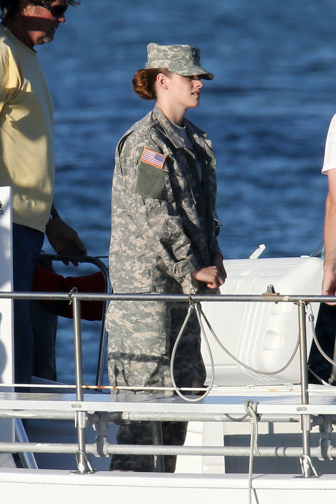 Kristen Stewart played the part perfectly on the set of her new film, Camp X-Ray. She's pictured here filming a scene in Los Angeles on July 17.