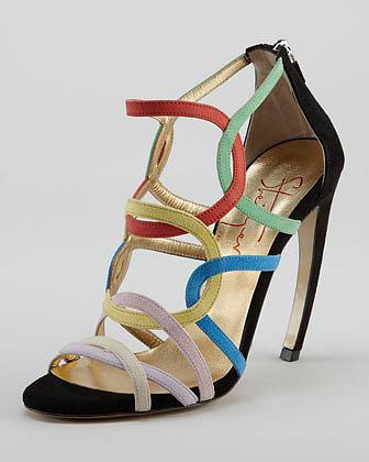 Walter Steiger Circle-Strappy Suede Sandal, Multicolor