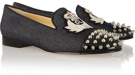 Christian Louboutin Intern studded denim and patent-leather slippers