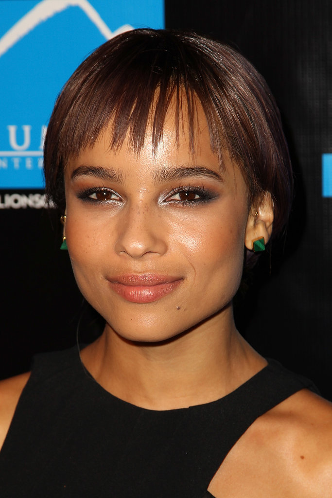 A metallic smoky eye played off of Zoë Kravitz's piecey bangs at the Summit Entertainment Comic-Con Red Carpet Press Event.