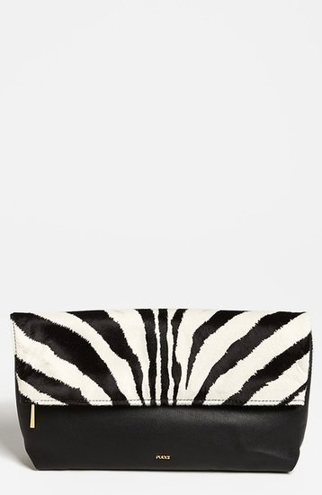 Emilio Pucci Zebra Print Calf Hair & Leather Clutch