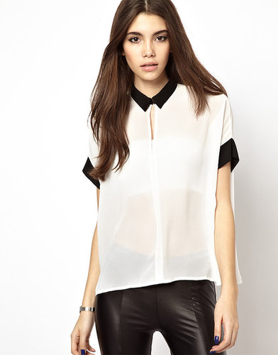 Daisy Street Sheer Shirt with Contrast Collar