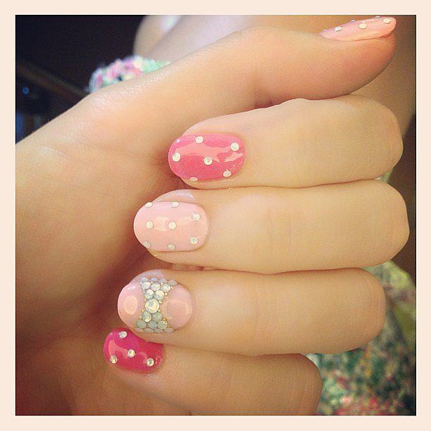Miranda Kerr gave nail art a go during her trip to Japan — loving the feminine colours she chose! Source: Instagram user mirandakerr