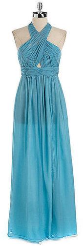 JILL JILL STUART Silk Chiffon Crisscross Halter Dress