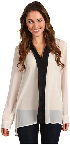 Kenneth Cole New York - Dona Long-Sleeve Tuexdeo Shirt (Ivory/Black) - Apparel