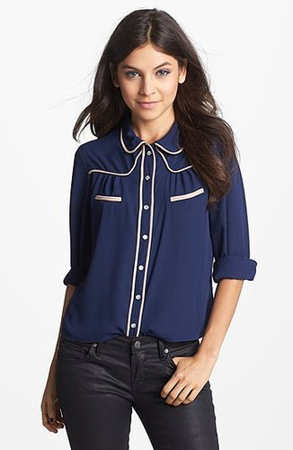 Mimi Chica Western Shirt (Juniors) Navy Medium