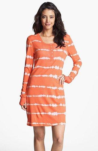 Munki Munki Print Henley Sleep Shirt Coral Tie Dye Small