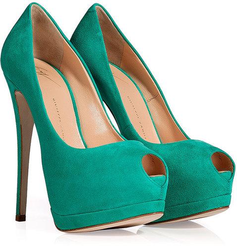 Giuseppe Zanotti Mint Green Suede Peep Toe Pumps