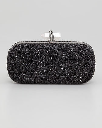 Marchesa Lily Medium Embroidered Stone Box Clutch, Black