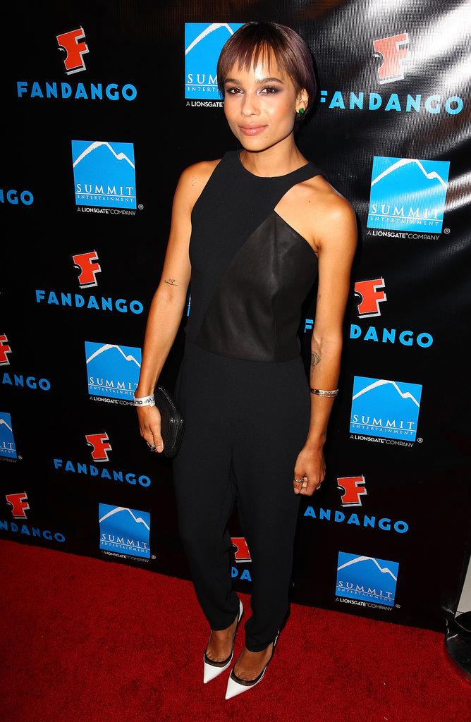 Kravitz gave us a little edge in a black jumpsuit with an asymmetrical bodice and white heels at a party hosted by Summit Entertainment.