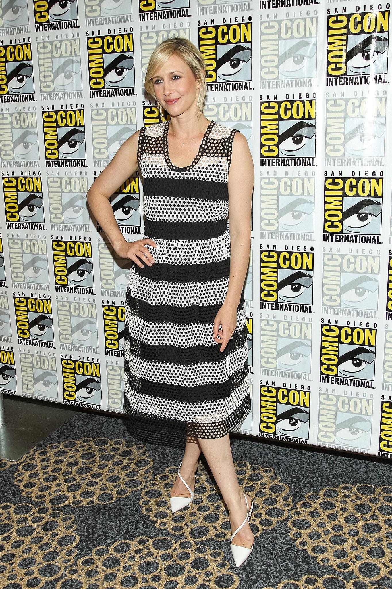 Vera Farmiga wore a striped dress to a press event for her show, Bates Motel.