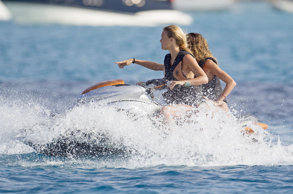 Bar Refaeli did some Jet-Skiing with a pal.