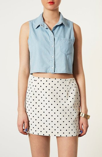 Topshop Moto 'Sophie' Crop Sleeveless Denim Shirt Light Denim 10