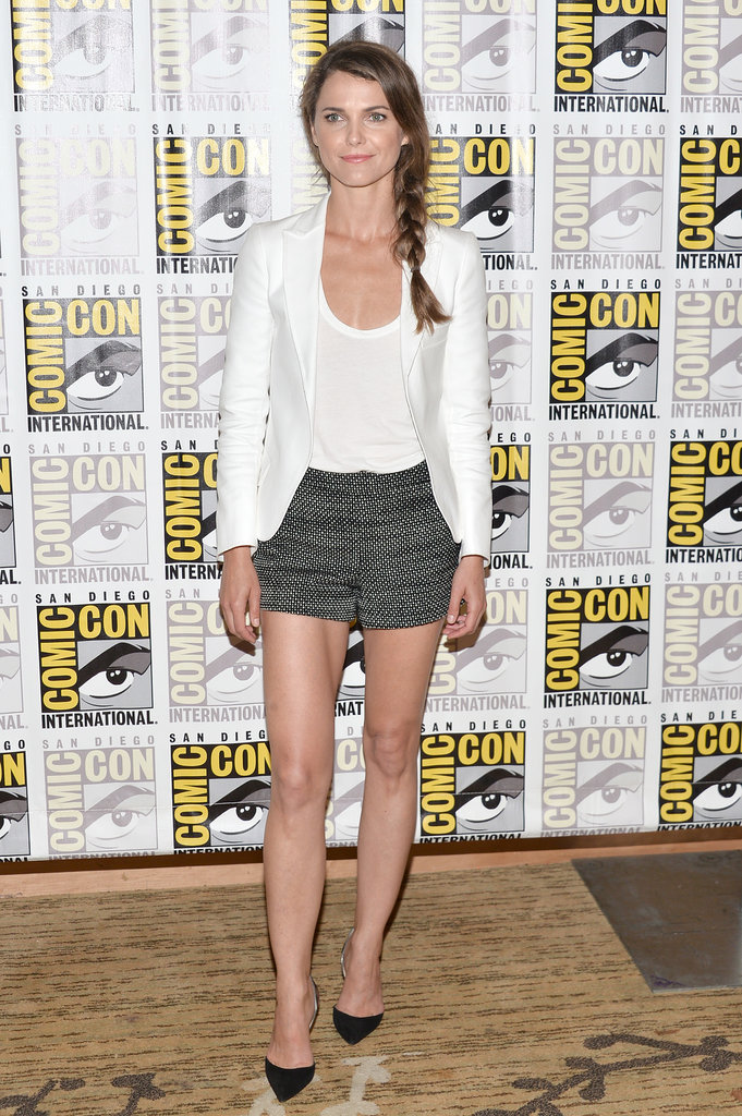 Keri Russell wore a crisp white blazer with black and white printed shorts at the Dawn of the Planet of the Apes press conference at Comic-Con.