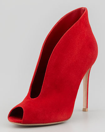 Gianvito Rossi Suede Ankle-Flare Bootie, Red