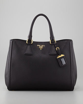 Prada Vitello Daino East-West Tote Bag, Nero