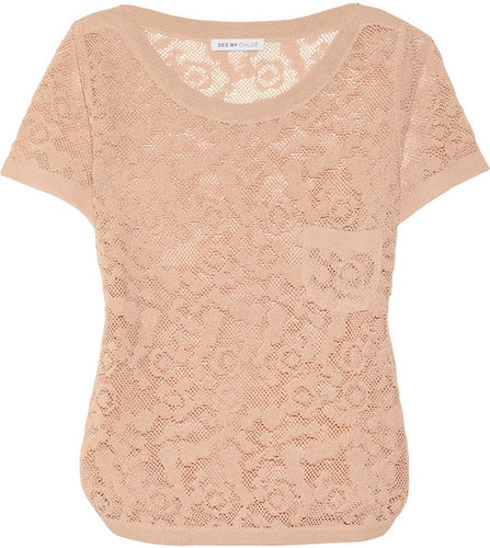 See by Chloé Linen-blend lace top