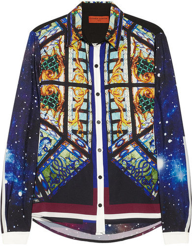 Clover Canyon Galaxy Glass printed satin blouse
