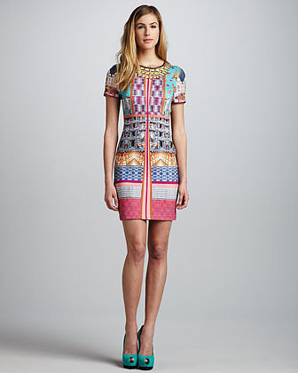 Clover Canyon Taj Mahal Necklace-Print Dress