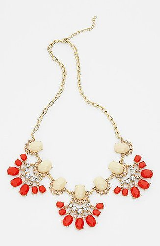 Tildon 'Vintage Floral' Statement Necklace Coral Multi