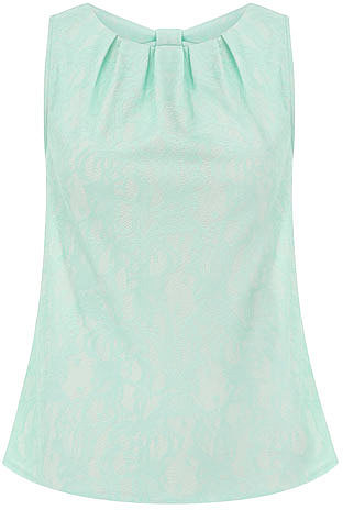 Mint bonded lace shell top