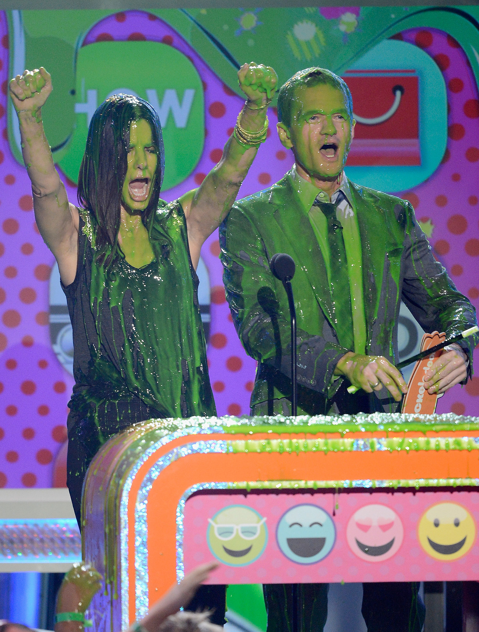 She and Neil Patrick Harris were covered in slime at the Kids' Choice Awards in March 2013.