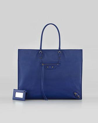 Balenciaga Papier A4 Leather Tote Bag, Marine
