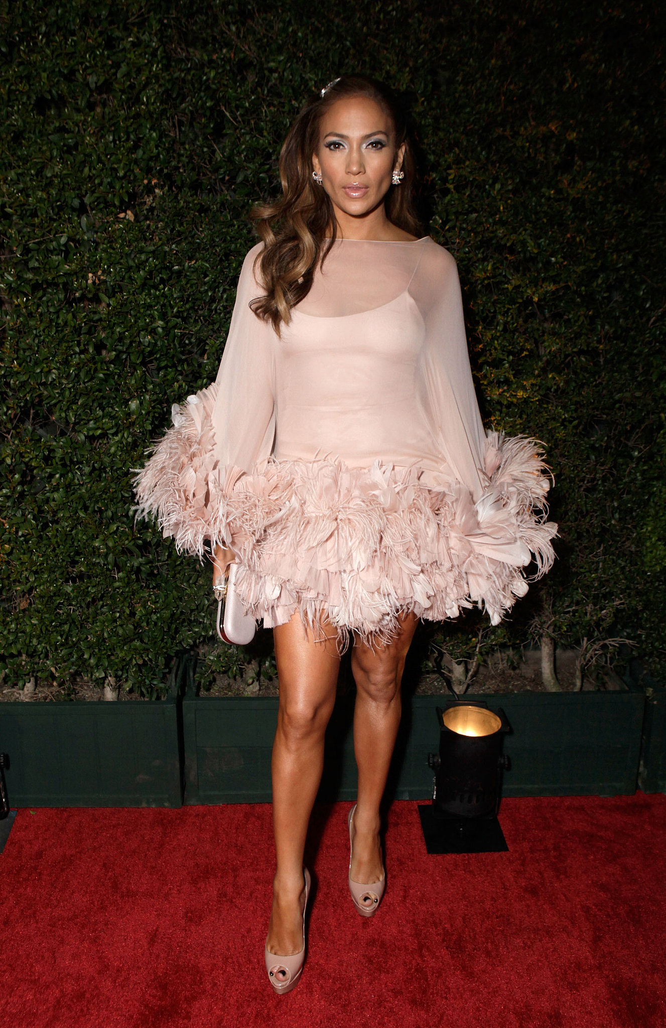 Jennifer slipped into this feather-trimmed Marchesa for the 2011 Golden Globes afterparty.