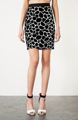 Topshop Giraffe Pattern Pencil Skirt Black 8