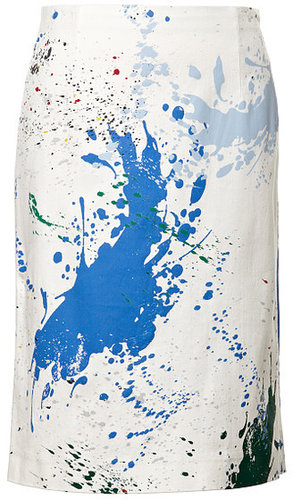 Preorder Tibi Splotch Splatter Print Stretch Twill Pencil Skirt