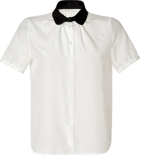 Girl.Band of Outsiders Ivory Contrast Collar Cotton-Silk Blend Shirt