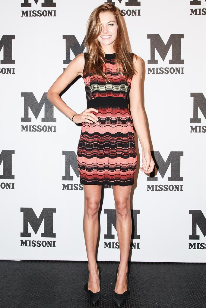 At M Missoni's rooftop party, Jessica Hart worked her curves in a formfitting dress from the label.