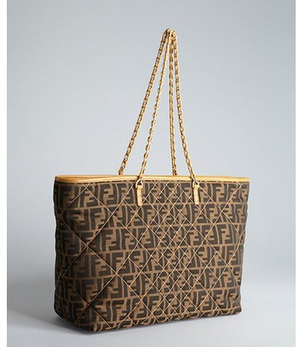 Fendi tan quilted zucca canvas 'Roll' large shopper tote