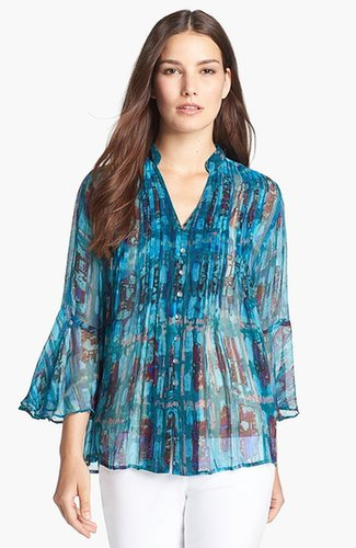 Casual Studio V-Neck Chiffon Blouse Teal Multi X-Large