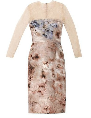 Valentino Garden-print silk and lace dress