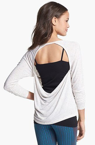 Unit-Y 'Expression' Drape Back Nep Knit Tee Cream Ice Small