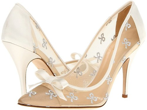 Kate Spade New York - Lisa (Silver Bow Mesh/Ivory Satin) - Footwear