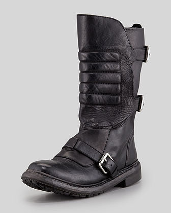 Burberry Strapped Leather Motorcycle Boot, Black