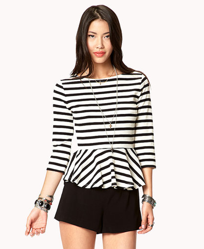 FOREVER 21 Essential Striped Peplum Top