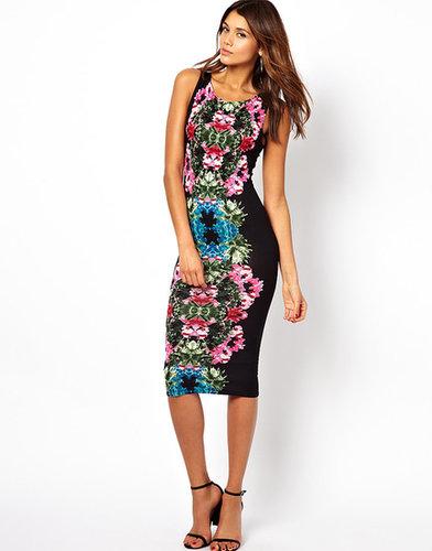John Zack Midi Dress In Mirror Floral Print