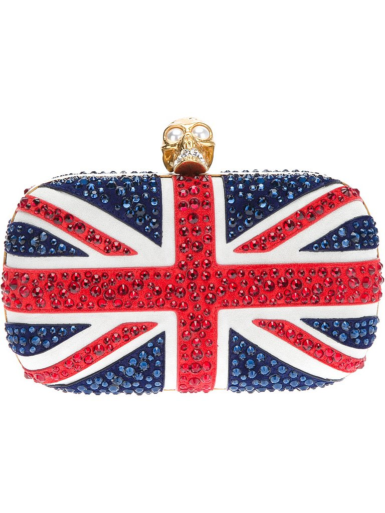 If I wasn't a serious Anglophile before, all of this Summer's royal baby mania has made me Brit-obsessed. So, there's nothing like an Alexander McQueen Union Jack studded skull clutch ($1,737) to really make my loyalties known. Although the price tag is pretty large, it seems a lot less expensive than if it were in pounds, right?  — KS
