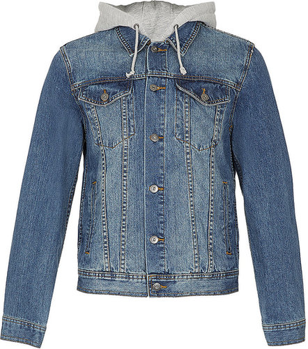 Grey Sweat Hood Denim Western Jacket