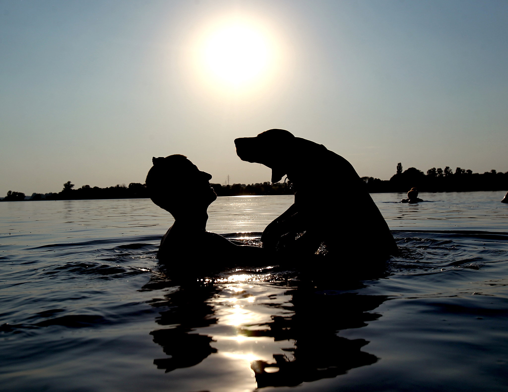 A boy and his dog played in a pond in in Lednice, Czech Republic, during record-breaking temperatures in late July.