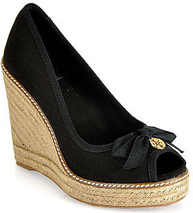 Tory Burch - Jackie - Black Canvas Espadrille Wedge