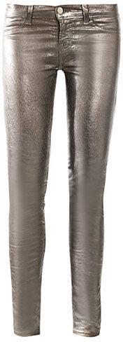 J Brand 901 Metallic low-rise skinny jeans